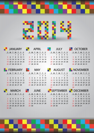 2014 wall brick calendar Vector