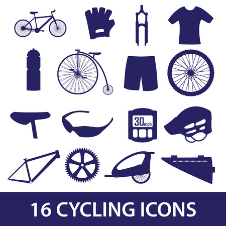 biking glove: cycling icon set