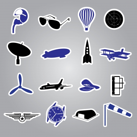 aeronautical icons stickers Vector