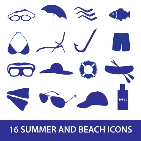 lounger: summer and beach icon set