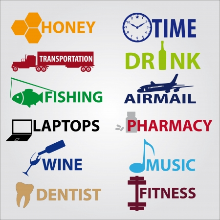 business icons with text Vector