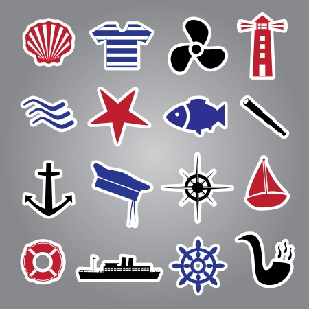 nautical icon stickers collection Vector