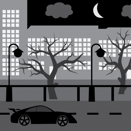 speeder: night street with car, tree and buildings Illustration