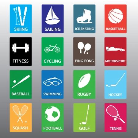 sportartikelen kleur icon set