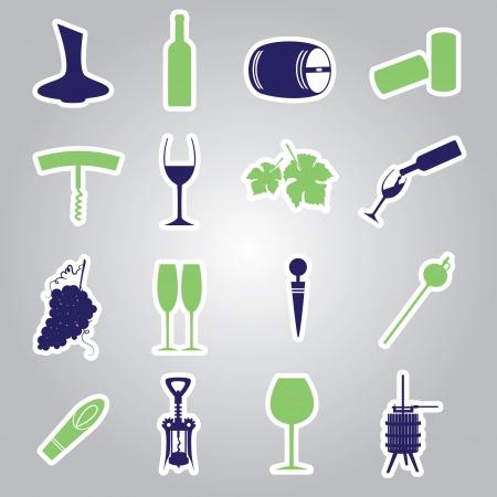 와인 스티커 아이콘을 설정 일러스트