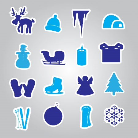 winter and Xmas icon stickers  Vector