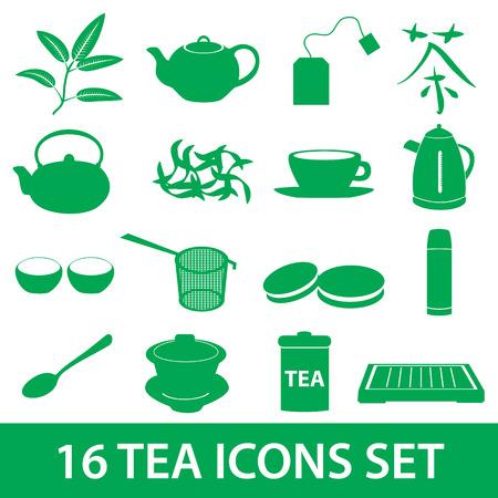 tearoom: tea icons set eps10