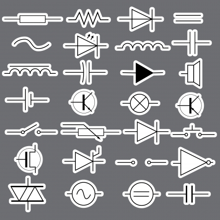 schematic symbols in electrical engineering stickers eps10 Vector