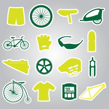 biking glove: cycling icon stickers eps10 Illustration