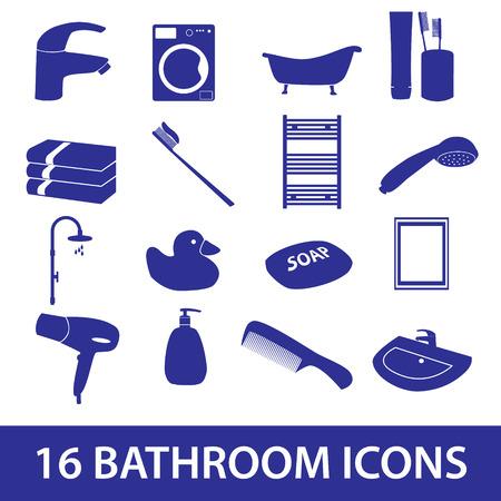 bath room: bathroom icons set eps10
