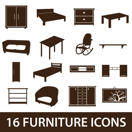 bedside: furniture icons eps10