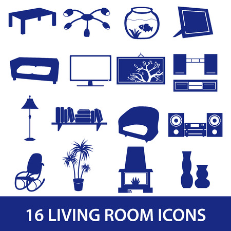 living room icon set eps10 Vector