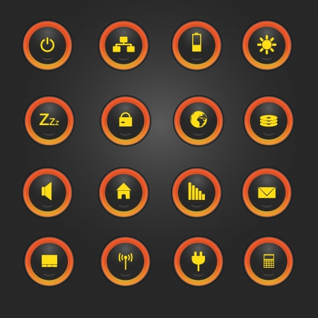 indication: laptop and PC indication light buttons eps10 Illustration