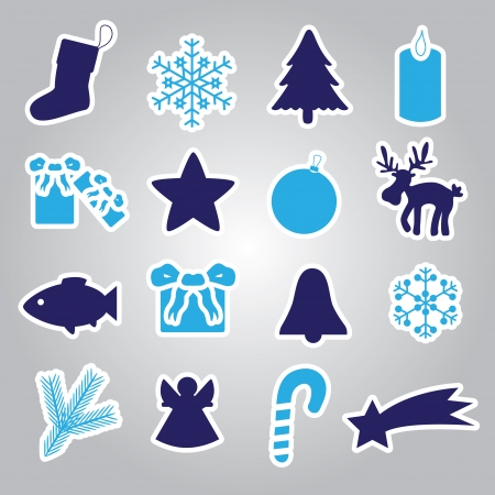 christmas icon stickers collection eps10 Vector