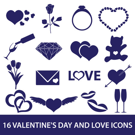 hearts and roses: valentines day and love icons eps10 Illustration