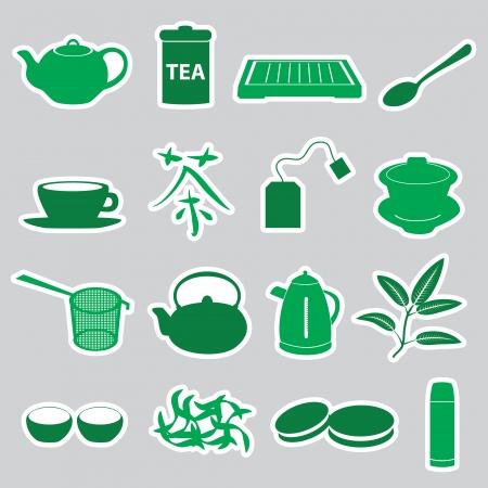 oolong: tea stickers set eps10 Illustration