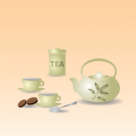 oolong: teapot and tea cups on the table eps10