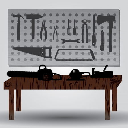 workroom with hand tools and workbench eps10 Vector
