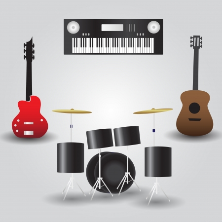 cymbals: guitars, drums and keyboard music instruments eps10