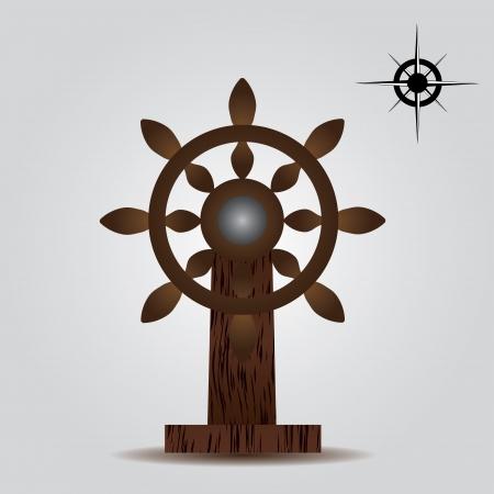 taget: nautical wood rudder eps10 Illustration