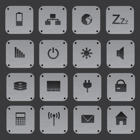 replaceable: metal texture buttons with replaceable computer icons eps10