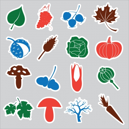 autumn stickers eps10 Vector