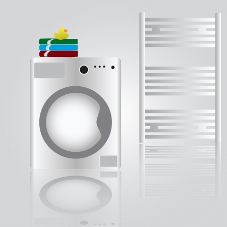 electrical appliance: lavadora en el ba�o eps10