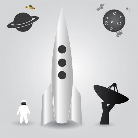 rocket launch: cohetes de lanzamiento espacial eps10 Vectores
