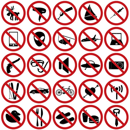 restriction sign set eps10 Vector
