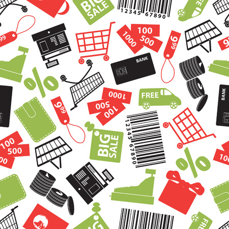 shopping icons color pattern  Vector