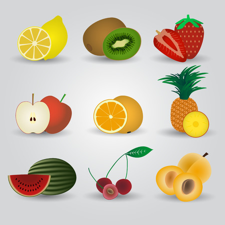 vitamine: colorful fruits and half fruits icons eps10