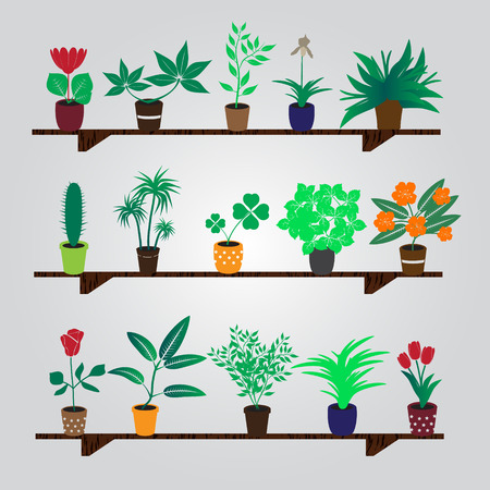 plant stand: home houseplants and flowers in pot on the shelf eps10 Illustration