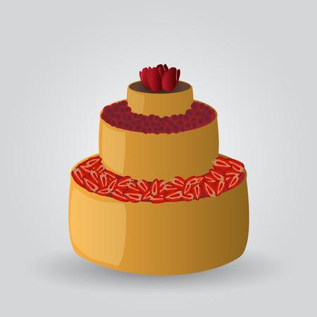 gelatina: layer cake con fresas y cerezas eps10