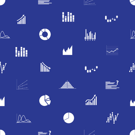 valorization: graphs icons seamless pattern eps10 Illustration
