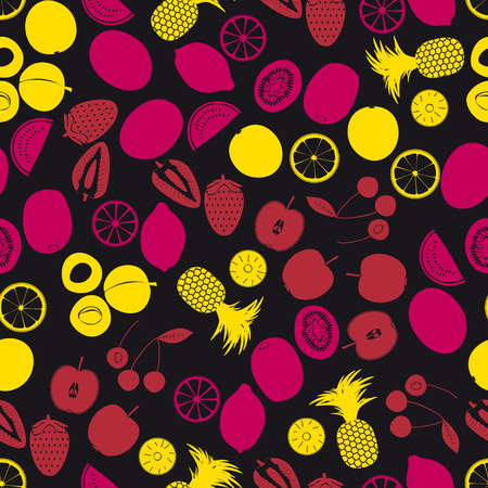wallop: fruits and half fruits color seamless pattern eps10