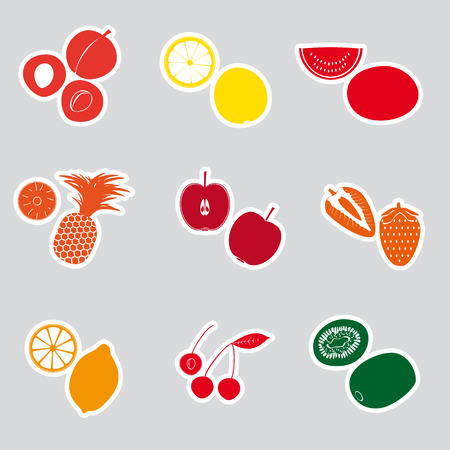 wallop: color fruits and half fruits stickers eps10
