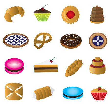 bułka maślana: słodkie desery kolorowe eps10