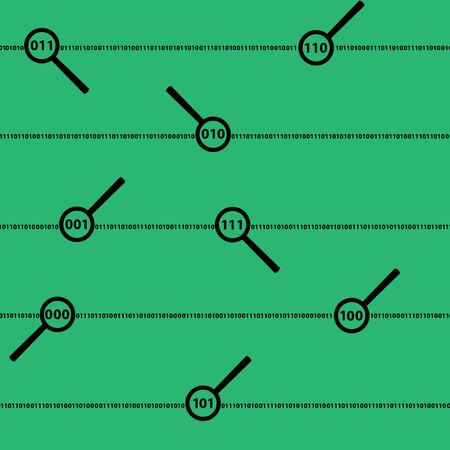 nulo: d�gitos del c�digo binario y lentes de color verde, Vectores