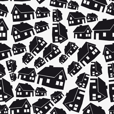 simple house: real estate simple house seamless pattern