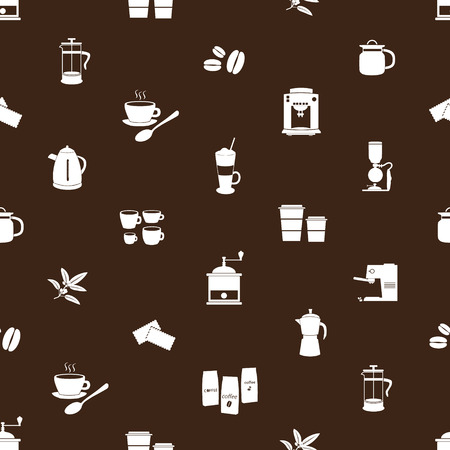 coffee icons brown and white pattern  Vector