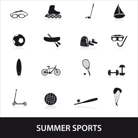 summer sports and equipment icon set  Vector