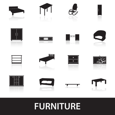 bedside: furniture types icons