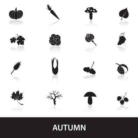corn poppy: autumn icons set