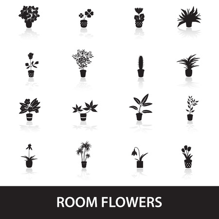 home houseplants and flowers in pot icons
