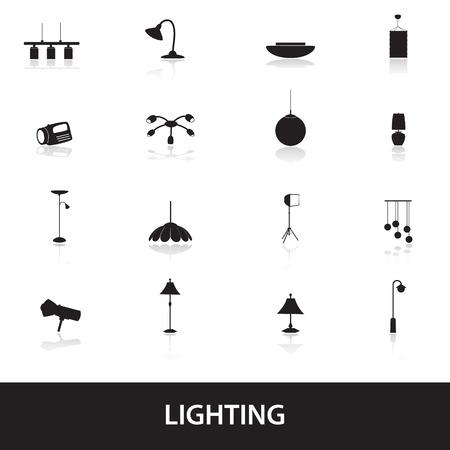 iconos iluminación Ilustración de vector