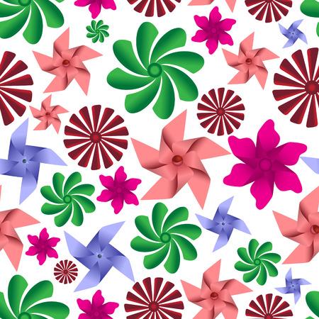 wind vane: colorful pinwheel toys seamless pattern  Illustration