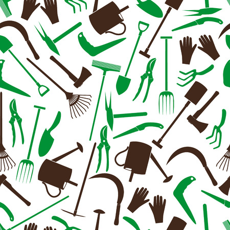 gardening tools color pattern  Vector