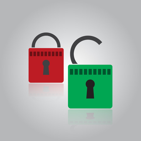 authorise: security red and green padlock