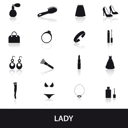 lady stuff needs icons set Vector