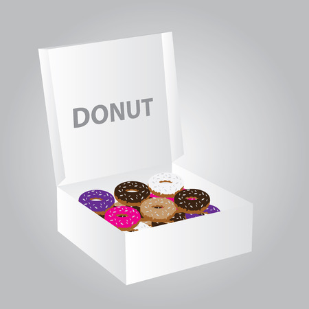 confectioner: paper box full of colorful donuts